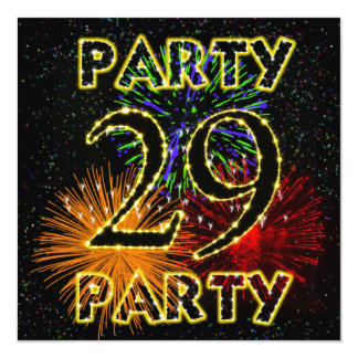 29th födelsedagsfest inbjudan med fyrverkerier