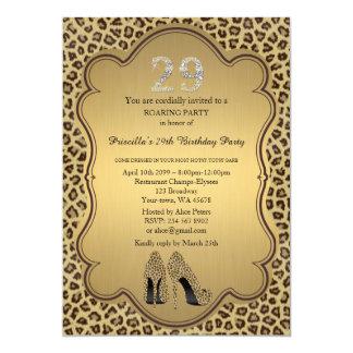 29th födelsedagsfesten 29th, Cheetahhögklackar 12,7 X 17,8 Cm Inbjudningskort