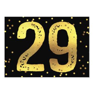 29th FödelsedagsfestFauxguld omkullkastar 12,7 X 17,8 Cm Inbjudningskort