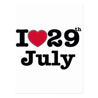 29th juli min dag av födelsedagen vykort