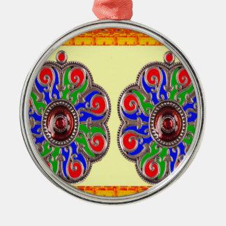2 för Ethinic för saffranBasanti juvel Rund Silverfärgad Julgransprydnad