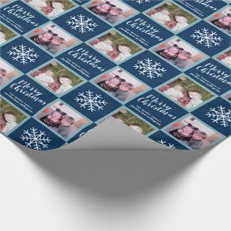 2 foto - marinblå god julsnöflingor presentpapper