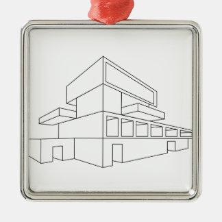 2D perspektivteckning av ett hus Julgransprydnad Metall