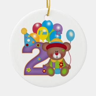2nd Födelsedag för födelsedagbjörnclown Rund Julgransprydnad I Keramik