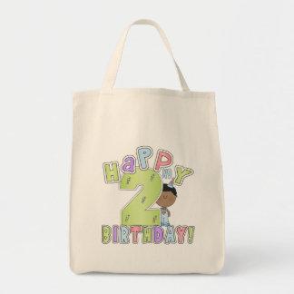 2nd födelsedag för lycklig, afrikansk amerikanpojk tote bag
