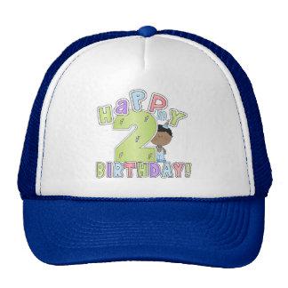 2nd födelsedag för pojkelycklig, afrikansk amerika trucker kepsar