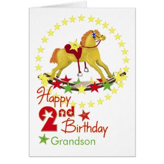 2nd Födelsedag som vaggar häststjärnor Hälsningskort