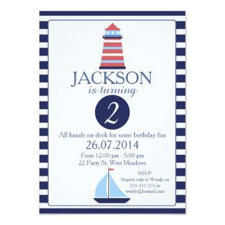 2nd födelsedaginbjudan för nautisk fyr 11,4 x 15,9 cm inbjudningskort