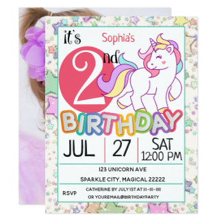 2nd födelsedagsfest inbjudan för Unicorn