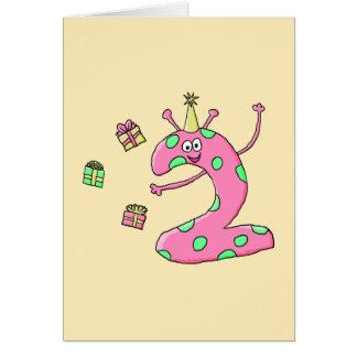 2nd födelsedagtecknad för flickor i Pink. Hälsningskort