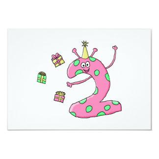 2nd födelsedagtecknad för flickor i Pink. Skräddarsydda Inbjudan