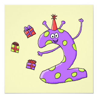 2nd Födelsedagtecknad i Purple. Fyrkantigt 13,3 Cm Inbjudningskort