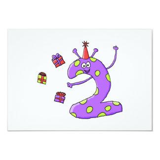 2nd Födelsedagtecknad i Purple. 8,9 X 12,7 Cm Inbjudningskort
