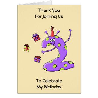 2nd Födelsedagtecknad i Purple. Hälsningskort