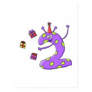 2nd Födelsedagtecknad i Purple. Vykort