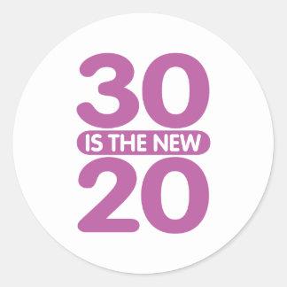 30 är de nya 20na runt klistermärke