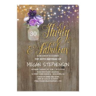 30 lantlig födelsedag - guld för lila 12,7 x 17,8 cm inbjudningskort