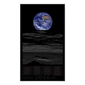 "30"" x 52"", LRO Lunar Earthset - kalender 2016 Poster"