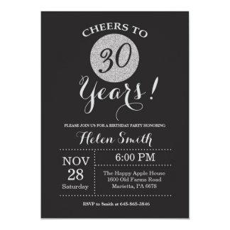 30års födelsedaginbjudansvart och silverglitter 12,7 x 17,8 cm inbjudningskort