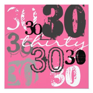 30års födelsedagpartyinbjudningar fyrkantigt 13,3 cm inbjudningskort