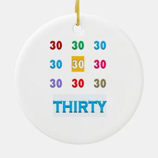 30th 30 trettionde födelsedagårsdagGÅVOR UNIQU Rund Julgransprydnad I Keramik