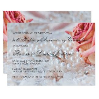 30th bröllopsdag för vigselringpärlor 12,7 x 17,8 cm inbjudningskort