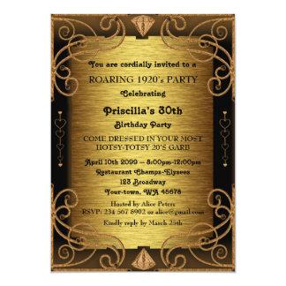 30th födelsedagsfest, kvinna, Gatsby stil, art 12,7 X 17,8 Cm Inbjudningskort