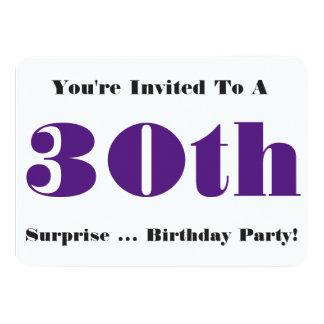 30th Överrrakningfödelsedagsfestinbjudan, lila, 11,4 X 15,9 Cm Inbjudningskort