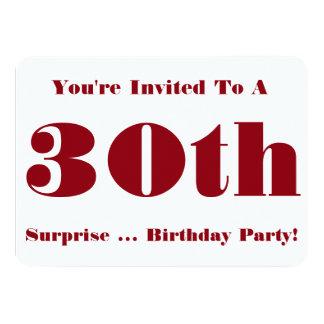30th Överrrakningfödelsedagsfestinbjudan, rött och 11,4 X 15,9 Cm Inbjudningskort