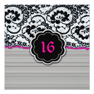 311-Alluring snöre - sweet sixteen Fyrkantigt 13,3 Cm Inbjudningskort