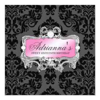 311 Glam diamanter för rosagråttdamast Fyrkantigt 13,3 Cm Inbjudningskort