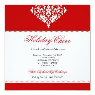 311-Holiday röd damast för jubel | Fyrkantigt 13,3 Cm Inbjudningskort