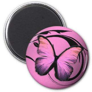 311 Lustrous fjärilsrosor trutar Magnet Rund 5.7 Cm
