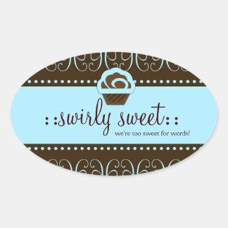 311 söta baby blue Swirly Ovalt Klistermärke