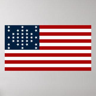 33 flagga för inbördeskrig för stjärnafortSumter a Print