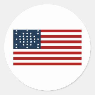 33 flagga för inbördeskrig för stjärnafortSumter a Rund Klistermärke