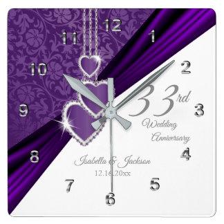 33rd Amethyst purpurfärgad bröllopsdagminnessak Fyrkantig Klocka