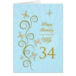 34th födelsedag för fru med guld- fjärilar hälsningskort
