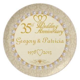 35eårsdagen för PERSONLIGEN (NAMES/DATES) pläterar Tallrik