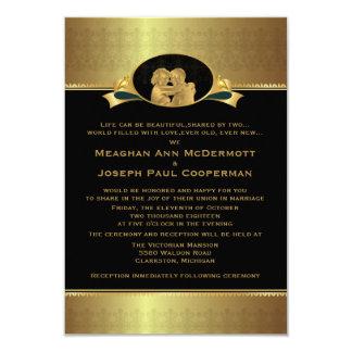 "3,5"" x 5"" guld- elegantt lyxigt modernt bröllop 8,9 x 12,7 cm inbjudningskort"