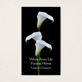 3 begravningsentreprenörer för vitarumliljar visitkort