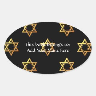 """""""3-D"""" guld- davidsstjärna Ovalt Klistermärke"""