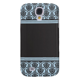 3 damastast blått/svart för elegant galaxy s4 fodral