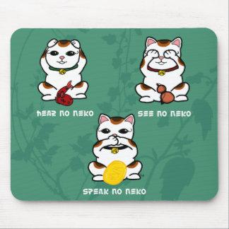 3 klok och lycklig Neko vågrät Mousepad Musmatta