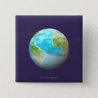 3D jordklot 4 Standard Kanpp Fyrkantig 5.1 Cm