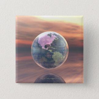 3D jordklot 5 Standard Kanpp Fyrkantig 5.1 Cm