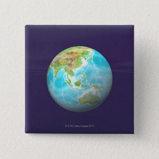 3D jordklot 6 Standard Kanpp Fyrkantig 5.1 Cm