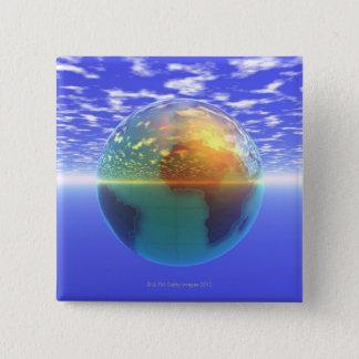 3D jordklot 9 Standard Kanpp Fyrkantig 5.1 Cm
