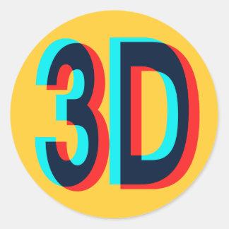 3D tre dimensionerar design Runt Klistermärke