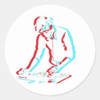 3D verkställer DJ-klistermärkear Runt Klistermärke